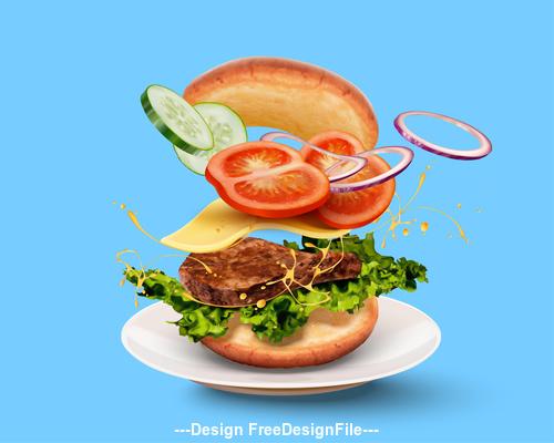 Summer burger advertisement vector