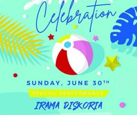 Summer celebration flyer psd template