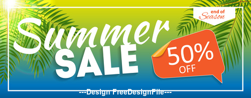 Summer discount banner vector
