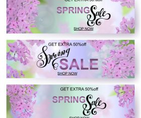 Summer flower background advertising banner template vector