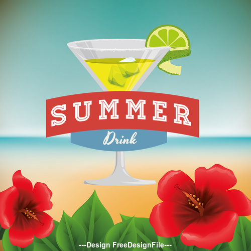 Summer flowers and drinks illustration vector