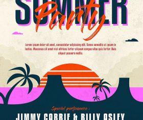 Summer party flyer template retro design