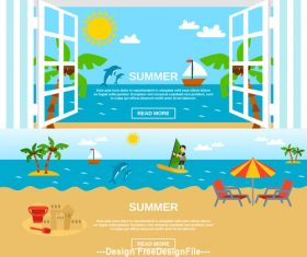 Summer sea beach vacation cartoon vector