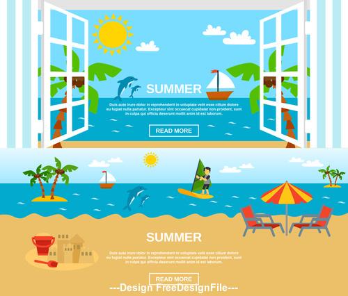 Summer sea beach vacation cartoon vector