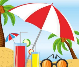 Summer sunny beach vacation vector
