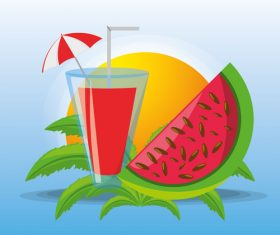 Summer watermelon and juice vector