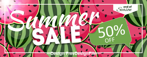 Summer watermelon discount label vector