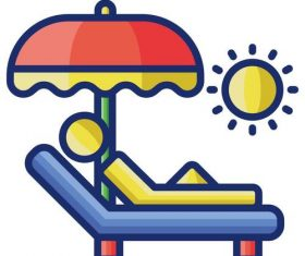 Sun tanning cartoon vector