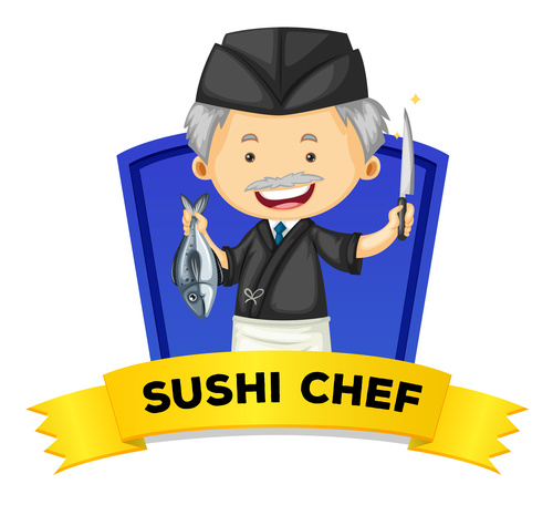 Sushi chef occupation word card vector