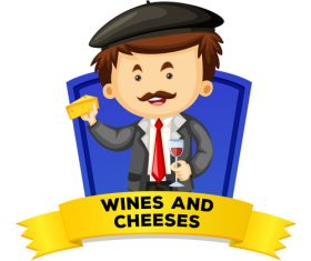 Tasting wines and cheeses illustration vector