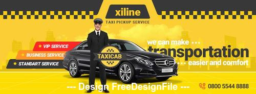 Taxi Online Facebook Cover Template PSD Template