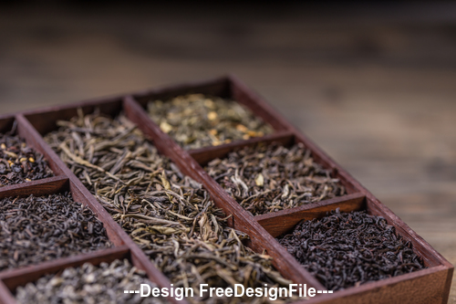 Tea and Retro wooden box Stock Photo
