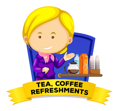 Tea coffee refreshments word card vector