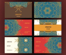 Template blue pattern cards vector