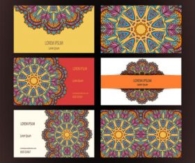 Template flower pattern cards vector