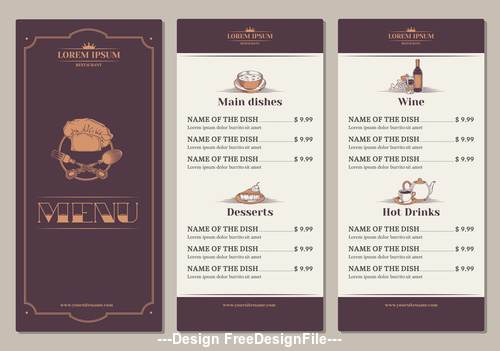 Template for the restaurant menu vector