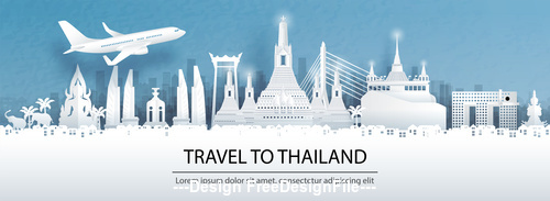 Thailand city landscape and travel paper design