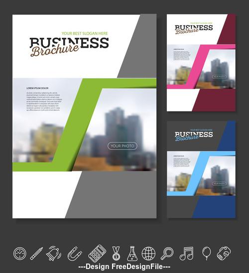 Three colors Brochure cover design vector