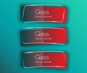 Three red glass banners on blue background vector