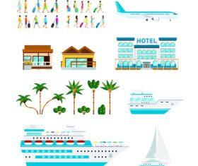 Travel and cruise set vector