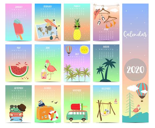 Travel desktop calendar 2020 vector