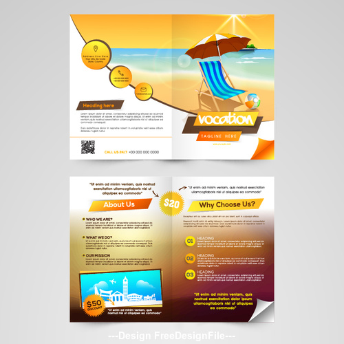 Travel holiday Brochure template vector