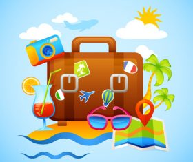 Travel suitcase illustration vector
