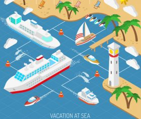 Tropical beach and mega yacht illustration vector