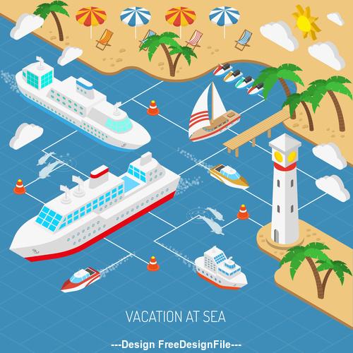 Tropical beach and mega yacht illustration vector