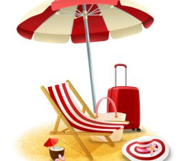 Tropical beach illustration vector