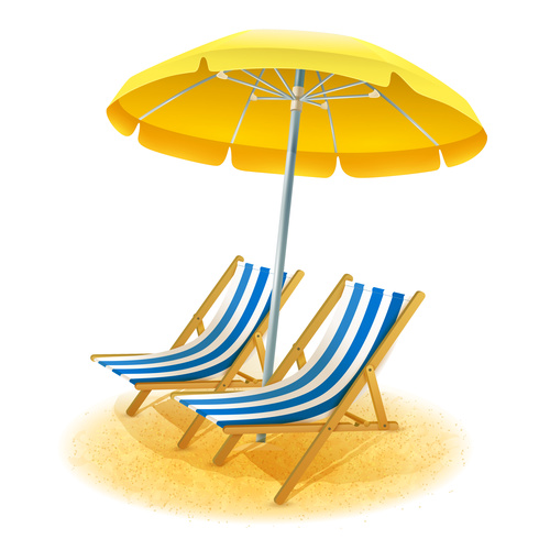Tropical beach umbrella illustration vector