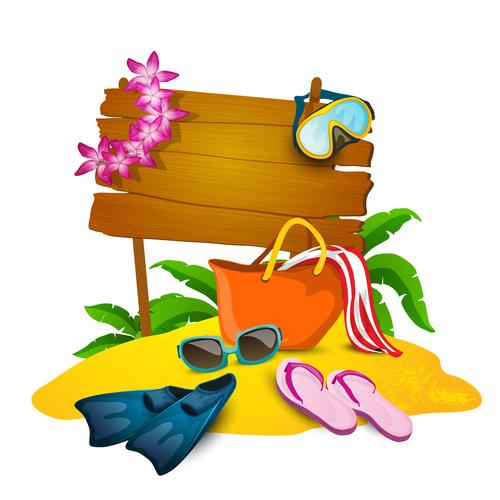 Tropical beach vacation illustration vector