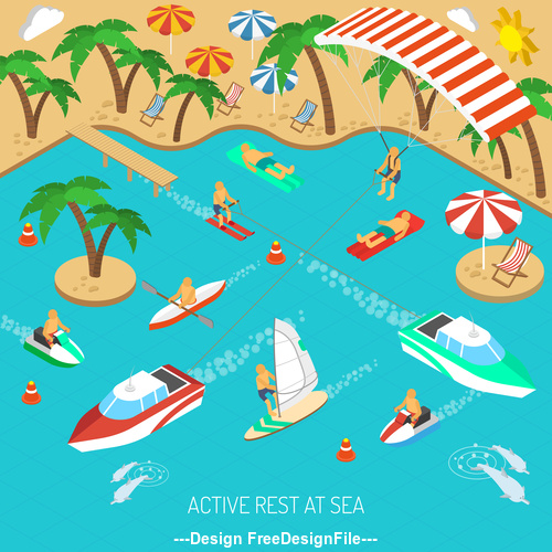 Tropical beach yacht and vacation people illustration vector