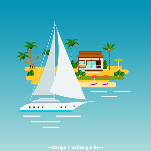 Tropical vacation composition illustration vector
