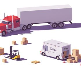 Truck and forklift 3d isometric vector