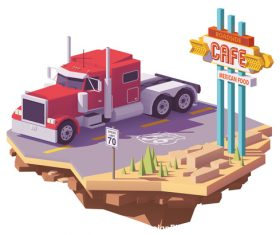 Truck on the road 3d isometric vector