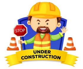 Under construction cartoon illustration vector