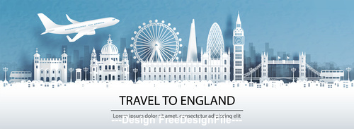 United Kingdom city landscape and travel paper design