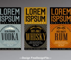 Various alcohol labels vector