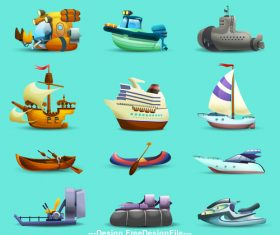Various cartoon ships illustration vector