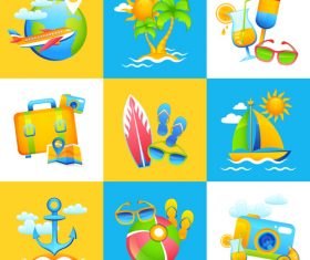 Various cartoon tropical beach illustration vector