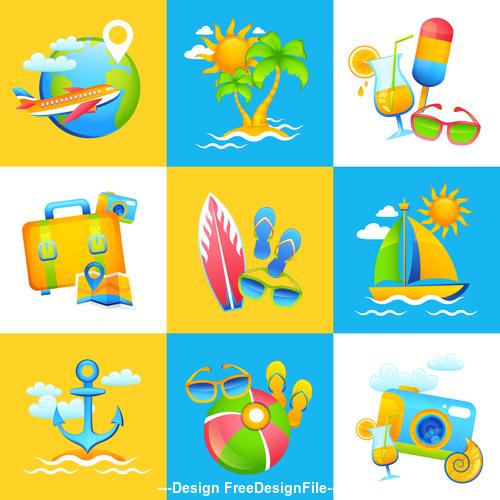 Various cartoon tropical beach illustration vector