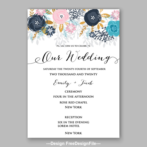 Various floral wedding invitation template on white background vector 01