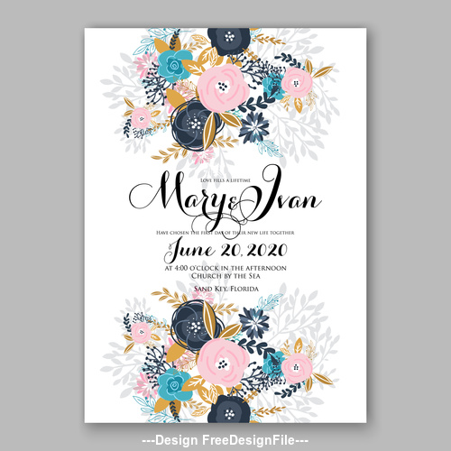 Various floral wedding invitation template on white background vector 03