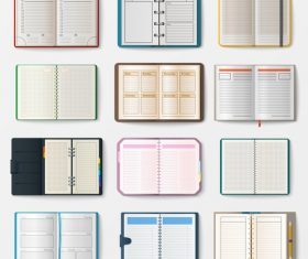 Various notebook collections vector