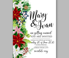 Various watercolor floral wedding invitation template vector.