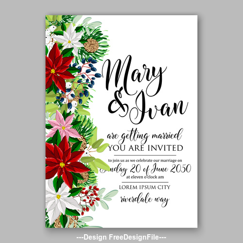 Various watercolor floral wedding invitation template