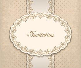 Vintage invitation lacy damask decoration 01