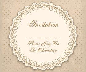 Vintage invitation lacy damask decoration 02