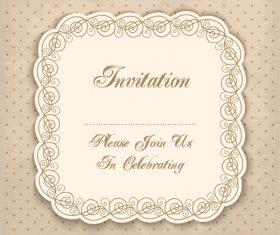 Vintage invitation lacy damask decoration 03